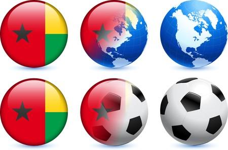 guinea bissau: Guinea Bissau Flag Button with Global Soccer Event Original Illustration