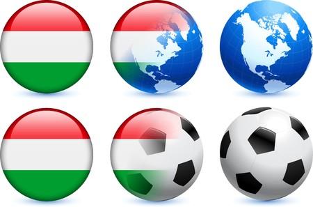 Hungary Flag Button with Global Soccer Event Original Illustration illustration
