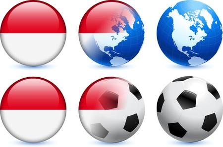 Indonesia Flag Button with Global Soccer EventOriginal Illustration