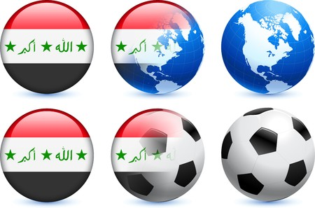 Iraq Flag Button with Global Soccer Event Original Illustration illustration