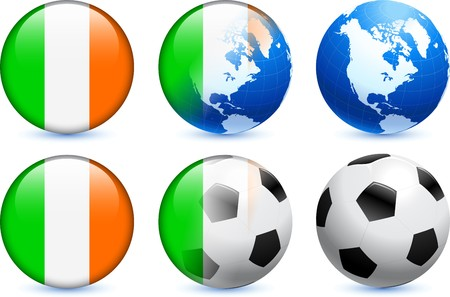 Ireland Flag Button with Global Soccer Event