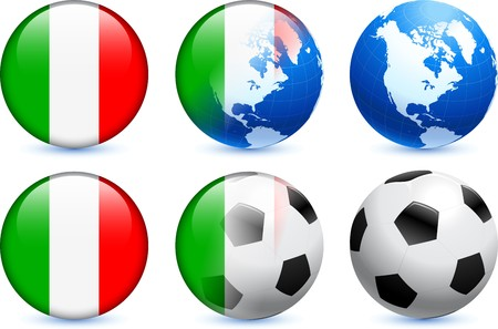 Italy Flag Button with Global Soccer Event Original Illustration illustration