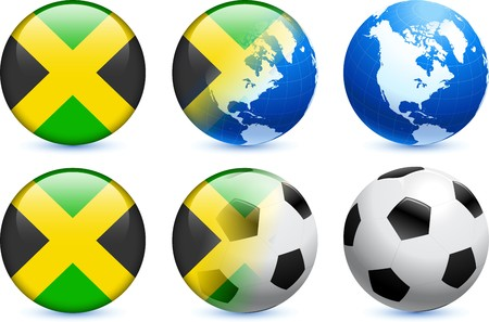 Jamaica Flag Button with Global Soccer Event Original Illustration illustration