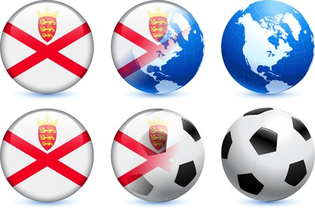 jersey: Jersey Flag Button with Global Soccer Event Original Illustration