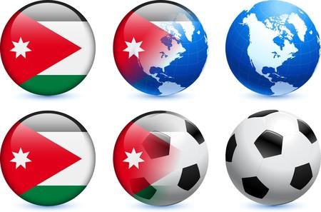 Jordanië Flag knoop met Global voet bal evenement Originele illustratie