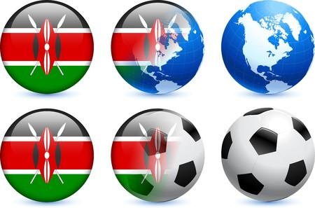 Kenya Flag Button with Global Soccer Event Original Illustration illustration