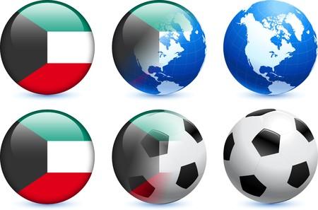 Kuwait Flag Button with Global Soccer EventOriginal Illustration Stock Illustration - 7126664