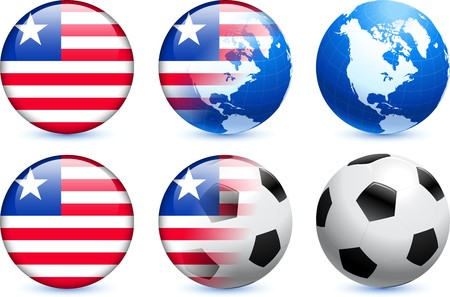 Liberia Flag Button with Global Soccer Event Original Illustration illustration