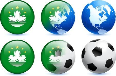 Macau Flag Button with Global Soccer Event Original Illustration