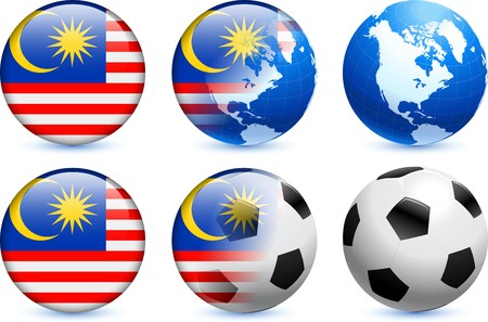 Malaysia Flag Button with Global Soccer Event Original Illustration