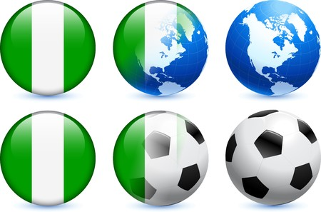Nigeria Flag Button with Global Soccer Event Original Illustration illustration
