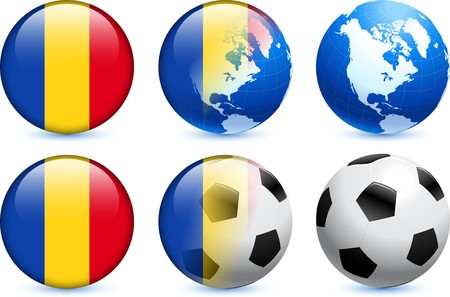 Romania Flag Button with Global Soccer Event Original Illustration