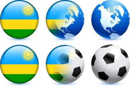 Rwanda Flag Button with Global Soccer Event Original Illustration illustration
