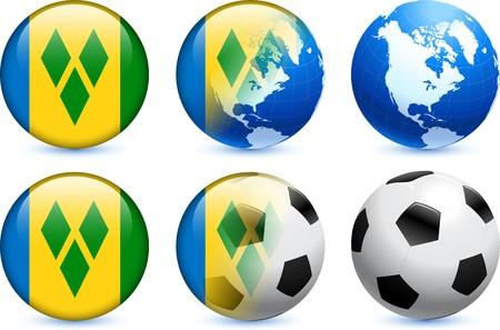 Saint Vincent Flag Button with Global Soccer Event Original Illustration