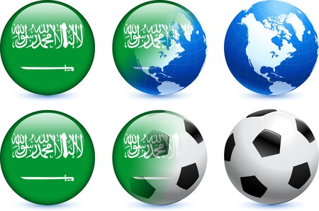 Saudi Arabia Flag Button with Global Soccer Event Original Illustration