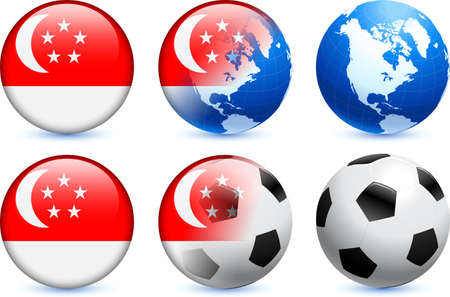 Singapore Flag Button with Global Soccer Event Original Illustration