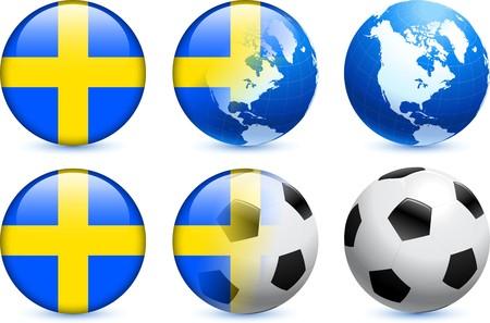 bandera de suecia: Bot�n de bandera de Suecia con el Mundial de f�tbol de eventos Ilustraci�n original