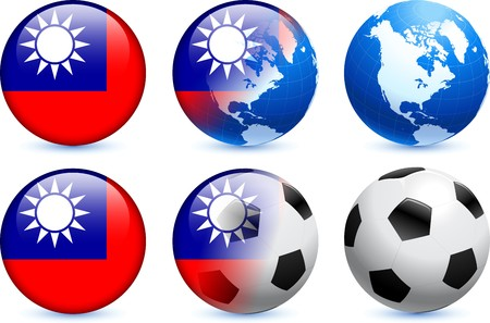 Taiwan Flag Button with Global Soccer Event Original Illustration