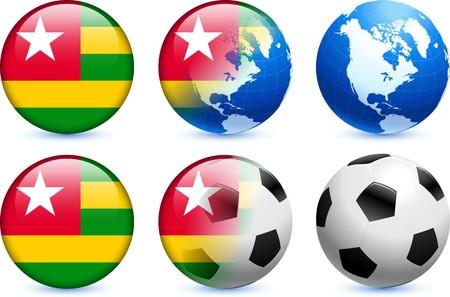 Togo Flag Button with Global Soccer Event Original Illustration illustration