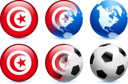 Tunisia Flag Button with Global Soccer Event Original Illustration
