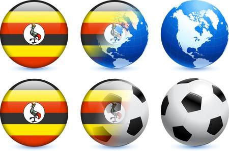 Uganda Flag Button with Global Soccer EventOriginal Illustration