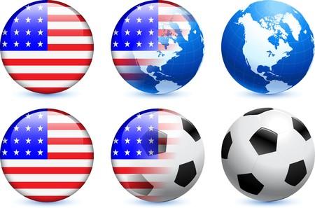 verenigde staten vlag: Verenigde Staten vlag knop met wereldwijde voet bal evenement Originele illustratie Stockfoto