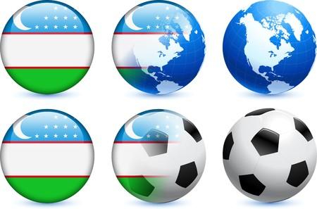 Uzbekistan Flag Button with Global Soccer Event Original Illustration Reklamní fotografie