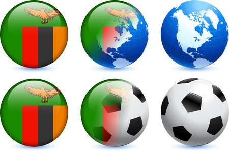 zambia flag: Zambia Flag Button with Global Soccer Event Original Illustration