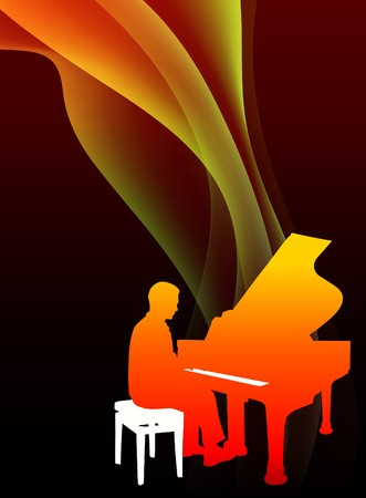 Piano Musician on Abstract Flowing Flame Background Original Illustration illustration
