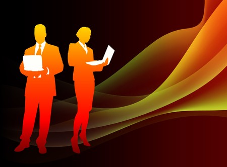 Business Couple on Abstract Flowing Flame Background Original Illustration Stock Photo
