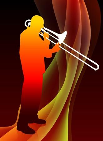 trombon: Músico de trompeta en abstracto llama de fondo Ilustración original