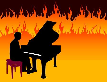 Piano Musician on Fire Background Original Illustration illustration