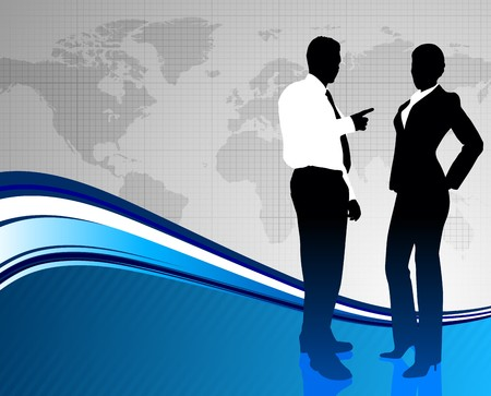Business Couple of World Map Background Original Illustration illustration