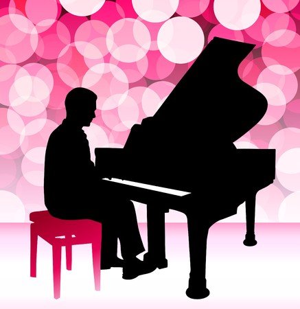 Piano Musician on Pink Lens Flare Background Original Illustration illustration