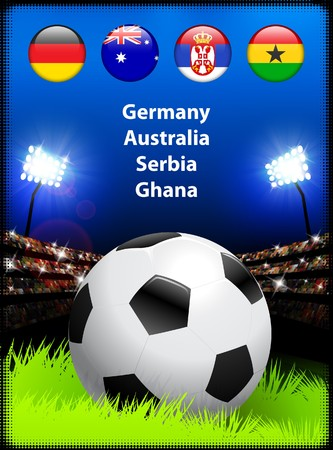 World Soccer Compeition Group D Original Illustration Imagens