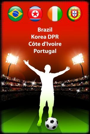 Soccer Player in Global Soccer Event Group G Original Illustration illustration
