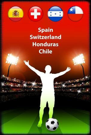 Soccer Player in Global Soccer Event Group HOriginal Illustration Stock Illustration - 7126538