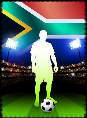 South African Soccer Player in Stadium Match Original Illustration illustration