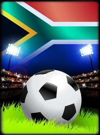 南アフリカ共和国のサッカー スタジアムでの試合 オリジナル イラスト 写真素材