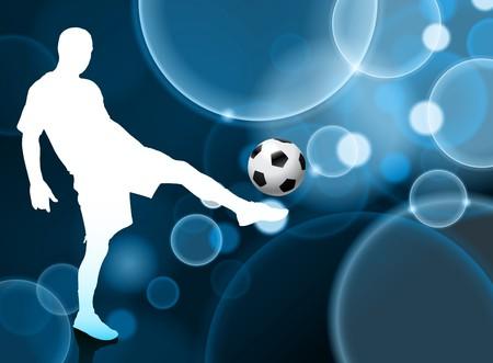 Soccer Player on Blue Bubble Background Original Illustration illustration