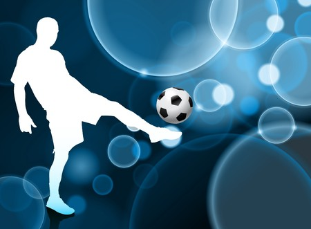 soccer goal: Soccer Player on Blue Bubble Background Original Illustration