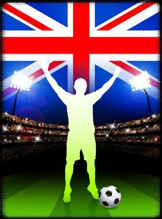 British Soccer Player in Stadium Match Original Illustration illustration