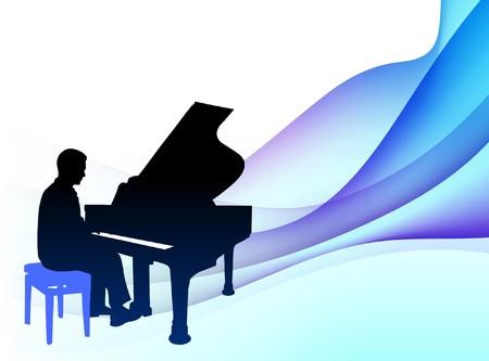 抽象的な背景が流れるようにピアノの音楽家オリジナル イラスト