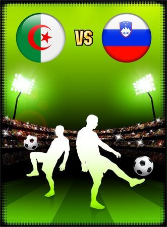 Algeria versus Slovenia on Stadium Event Background Original Illustration illustration