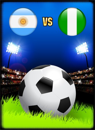 Argentina versus Nigeria on Soccer Stadium Event Background Original Illustration illustration