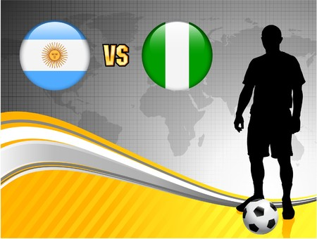 Argentina versus Nigeria on Abstract World Map Background Original Illustration illustration