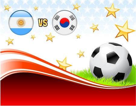 Argentina versus South Korea on Abstract Red Background with Stars Original Illustration