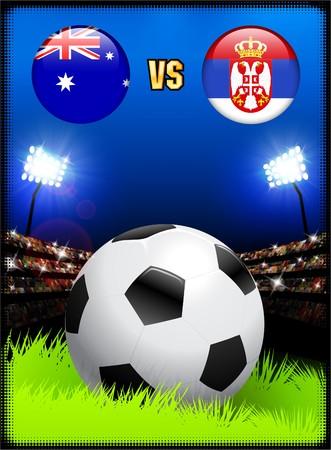 Australia versus Serbia on Soccer Stadium Event Background Original Illustration Imagens