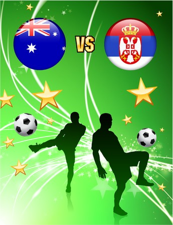 Australia versus Serbia on Abstract Green Stars Background Original Illustration