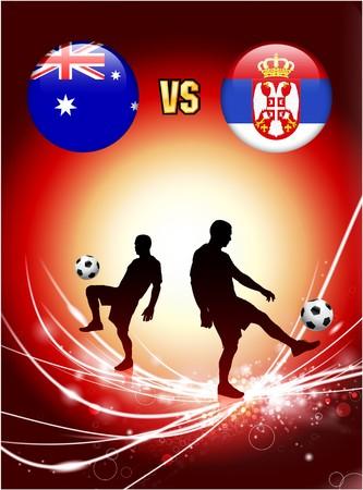 Australia versus Serbia on Abstract Red Light BackgroundOriginal Illustration Imagens - 7137655